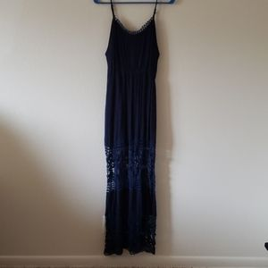 Navy Blue Dress with Lace Details